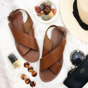 Madewell Brown Leather Cross Strap Sandals